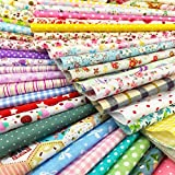 flic-flac 25pcs 12 x 12 inches (30cmx30cm) Cotton Fabric Squares Quilting Sewing Floral Precut Fabric Square Sheets for Craft Patchwork