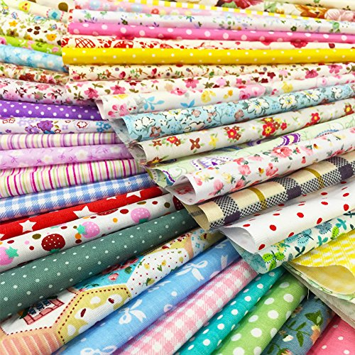 flic-flac 25pcs 10 x 10 inches (25cmx25cm) Cotton Fabric Squares Quilting Sewing Floral Precut Fabric Square Sheets for Craft Patchwork (25pcs 25cm25cm)