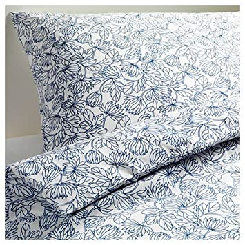 ikea bladvass fullqueen duvet cover and pillowcases white blue