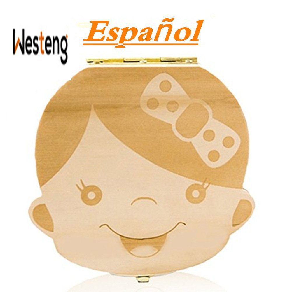 Westeng Caja Almacenamiento Madera Almacenaje para Dientes De Leche Niña Niña,1Pcs (A Niña Letra Español) product image