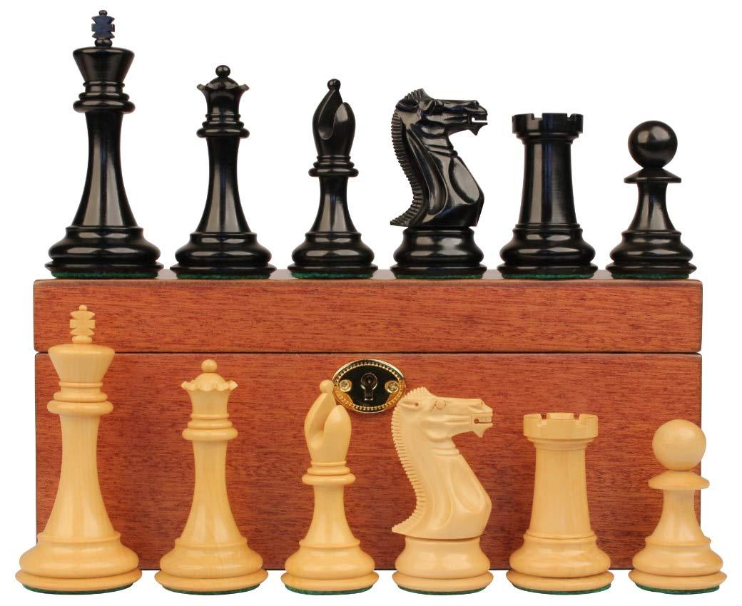 【超歓迎された】 新しいExclusive Stauntonチェスセットエボニー&でBoxwood withマホガニーボックス – 4 B077QR1G91
