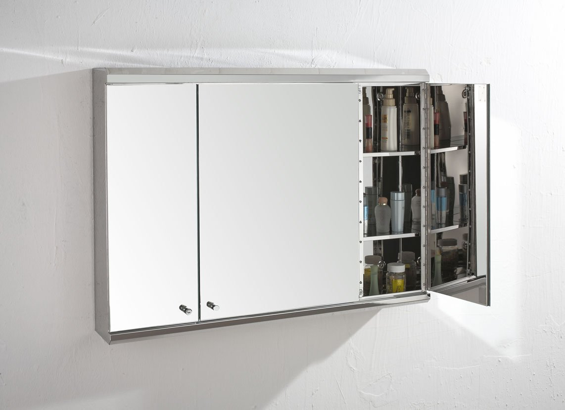 Biscay 80cm x 55cm Triple Door Mirror Bathroom Wall Cabinet ...
