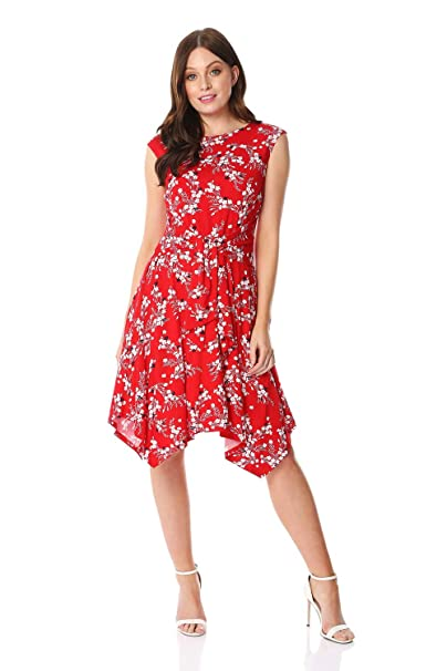 efc99c9eacca Roman Originals Women Hanky Hem Oriental Floral Print Dress - Ladies  Everyday Smart Casual Work Office Meeting Comfortable Round Neck Knee  Length Midi ...