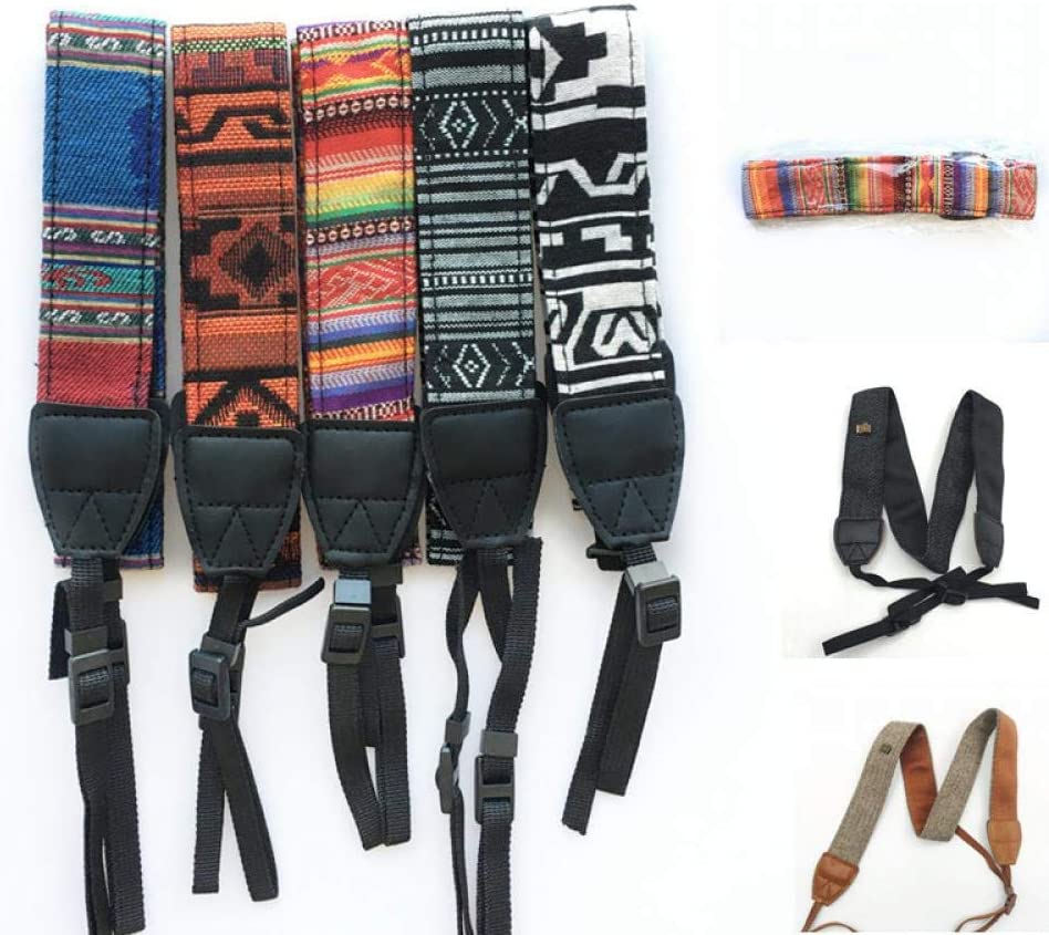 3 in 1 Retro Style Double Cotton Yard Colorful Pattern Camera Shoulder Neck Sling Hand Strap Belt for Canon Nikon Sony HEONYIRRY 2