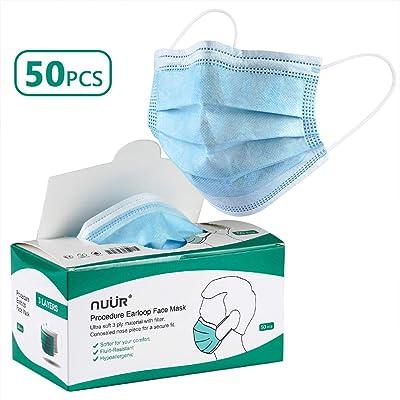 NUÜR Mascarillas Desechables de Higiene con Gancho para el Oído Elástico, 3 Capas, Talla Única, para Todos (Paquete de 50 Piezas)