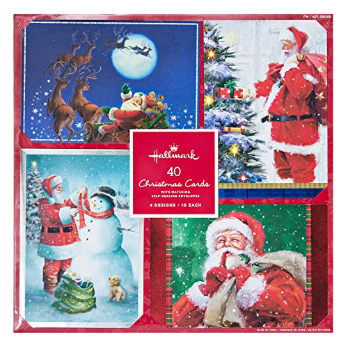 Hallmark 40 Christmas Holiday Cards with Matching Self Sealing Envelopes - 4 Designs 10 Each (Santa)