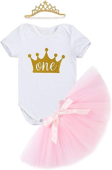 Falda Tutu Rosa Diadema Corona de la Princesa 3pcs Traje de 1 A/ño Fiesta Fotograf/ía Vestir Regalo FYMNSI Infantil Beb/é Ni/ña Es mi Primer Vestido de Cumplea/ños Mameluco de Manga de Encaje