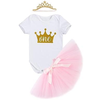 423a493acf4c7 IWEMEK Nouveau-né Bébé Enfants Bambin Filles 1er Anniversaire Costume de  Photographie Barboteuse Tutu Jupe