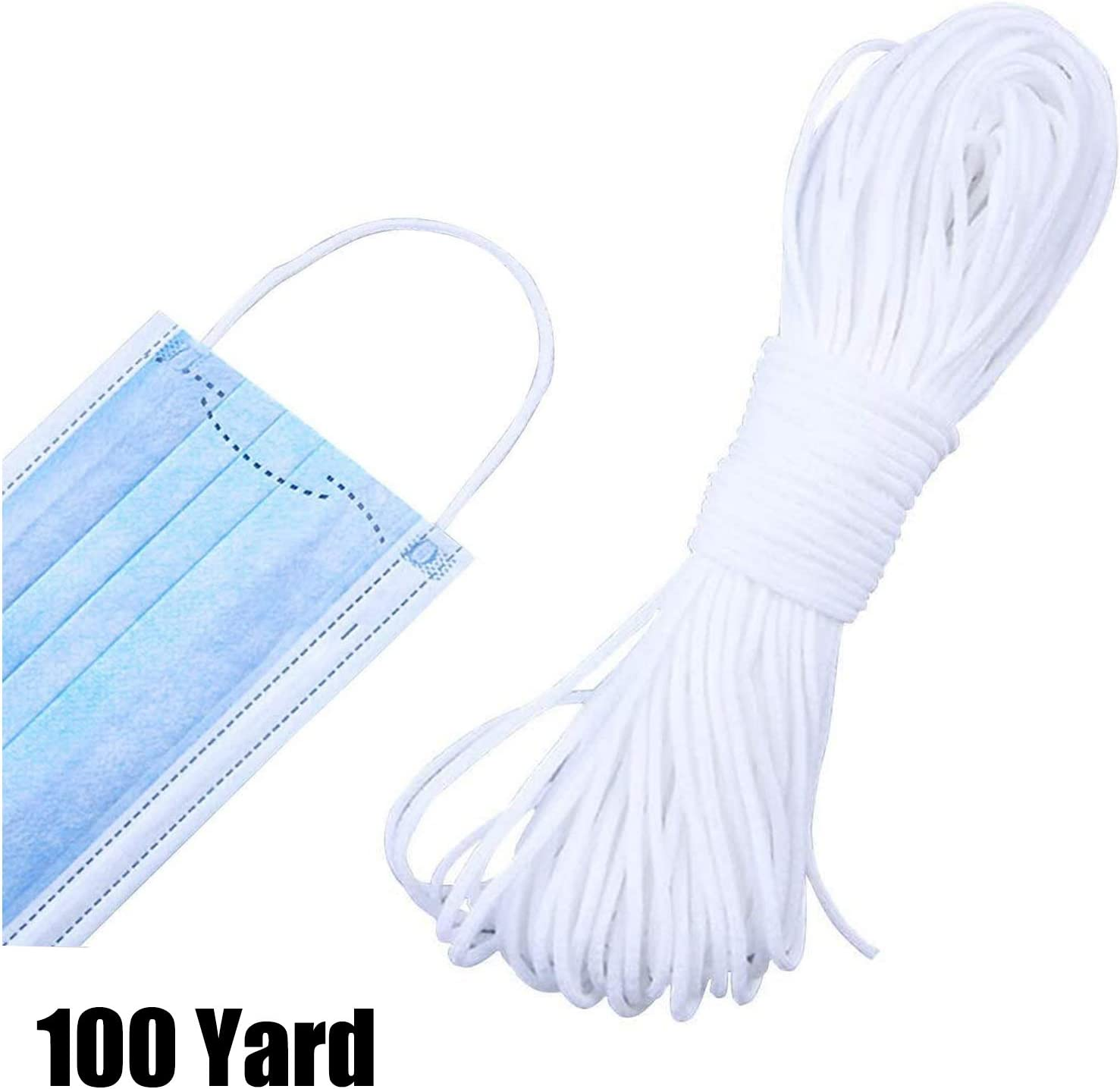 100 Yards, white Elastic Bands for Sewing DIY Ear Band Loop Ear Tie Rope Handmade DIY Craft Round White 1//8 inch Stretchy String Cord 3mm