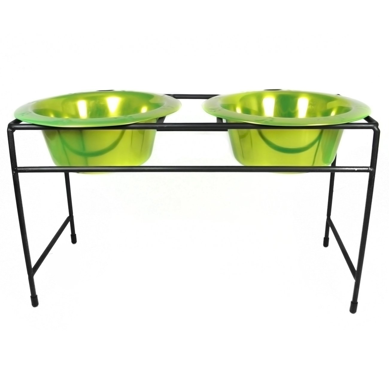 Platinum Pets Double Diner Feeder with Stainless Steel Dog Bowls, 28 oz, Lime