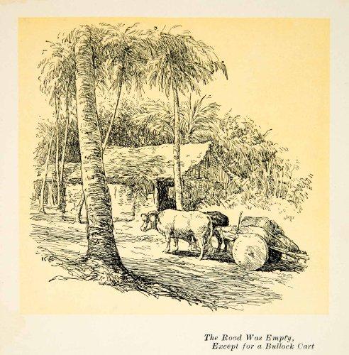 Asian Thatch (1924 Print East Asian Island Bullock Cart Street Oxen Palm Trees Thatch Hut Road - Relief Line-block)