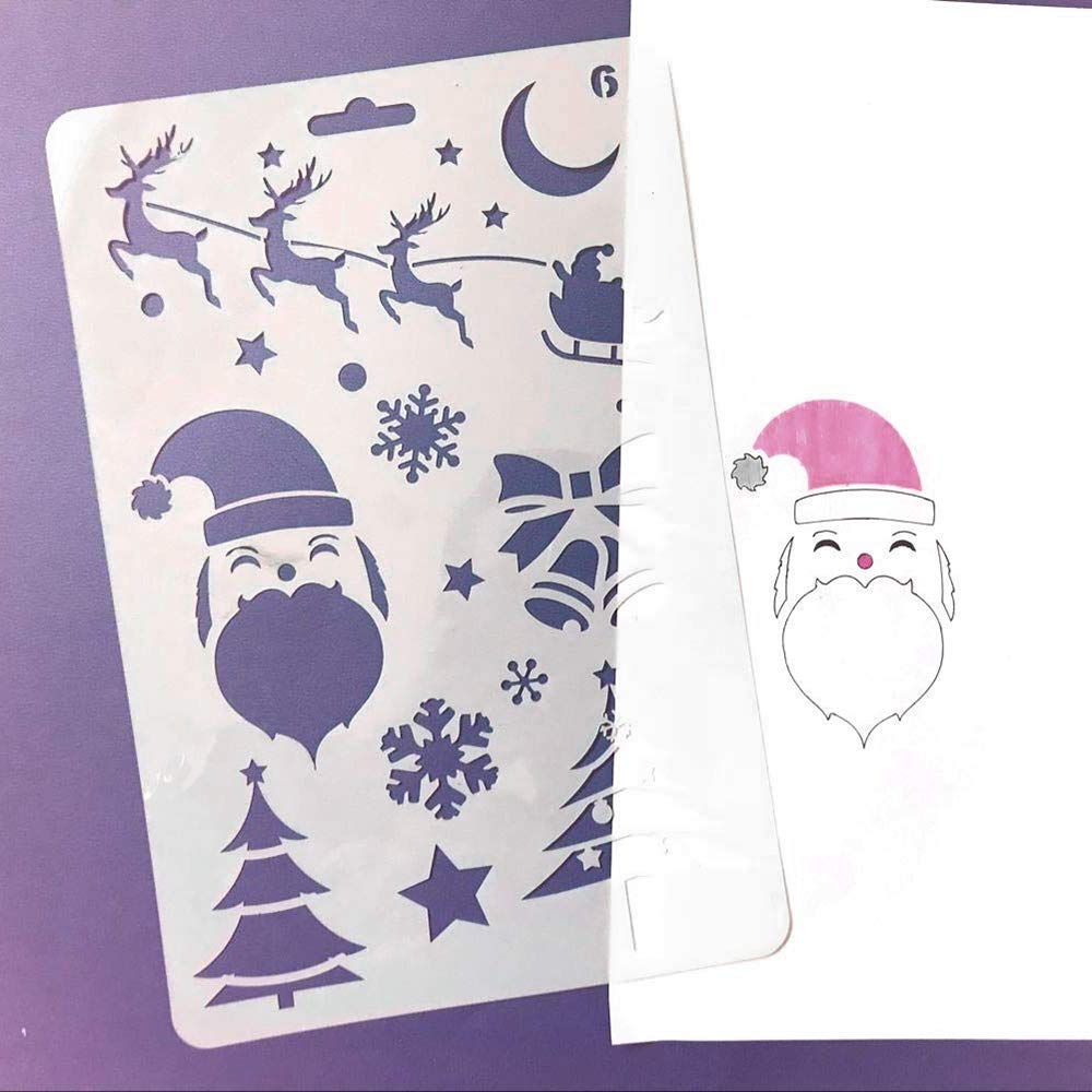 Scrapbooking Navidad Decoraci/ón Diario,Pintura 12 Piezas Stencil Plantillas Pl/ástico Pintura Plantillas para Manualidades Navidad Plantillas Dibujo Ni/ños