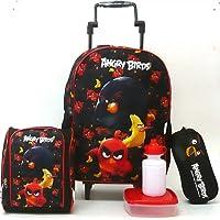 Kit Mochila Escolar Angry Birds Pássaros G Rodinhas Santino