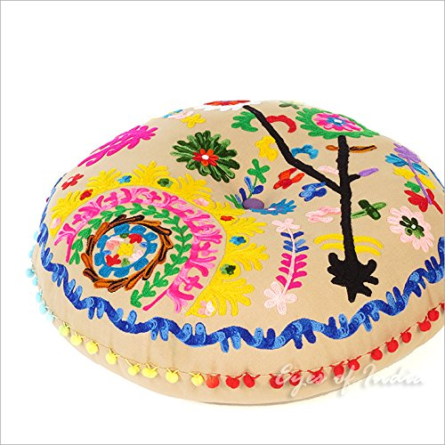 Eyes of India - 24'' Round Beige Brown Decorative Floor Cushion Seating Meditation Pillow Cover Throw Boho Bohemian Indian