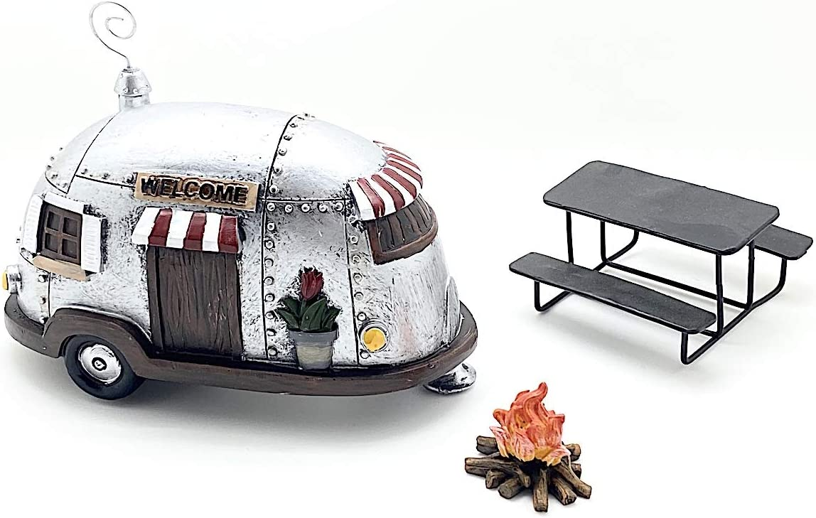 Snickerdoodle Smalls Miniature Camper Trailer, Campfire and Picnic Table for use as Home Decor, Fairy Garden or Terrarium