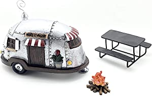 Snickerdoodle Smalls Miniature Camper Trailer, Campfire and Picnic Table for use as Home Decor, Fairy Garden or Terrarium