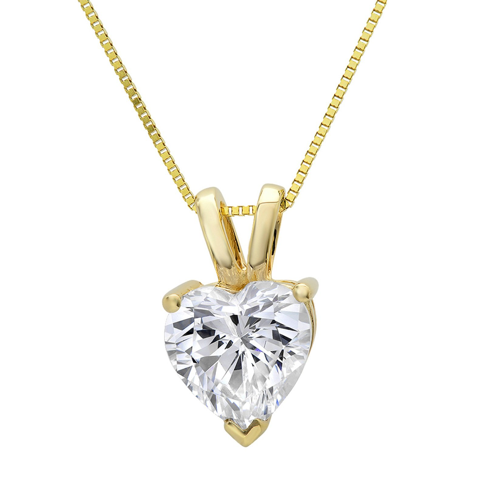 1.10 CT Heart Cut CZ Real Solid 14K Yellow Gold Solitaire Pendant Box Necklace 16'' Chain