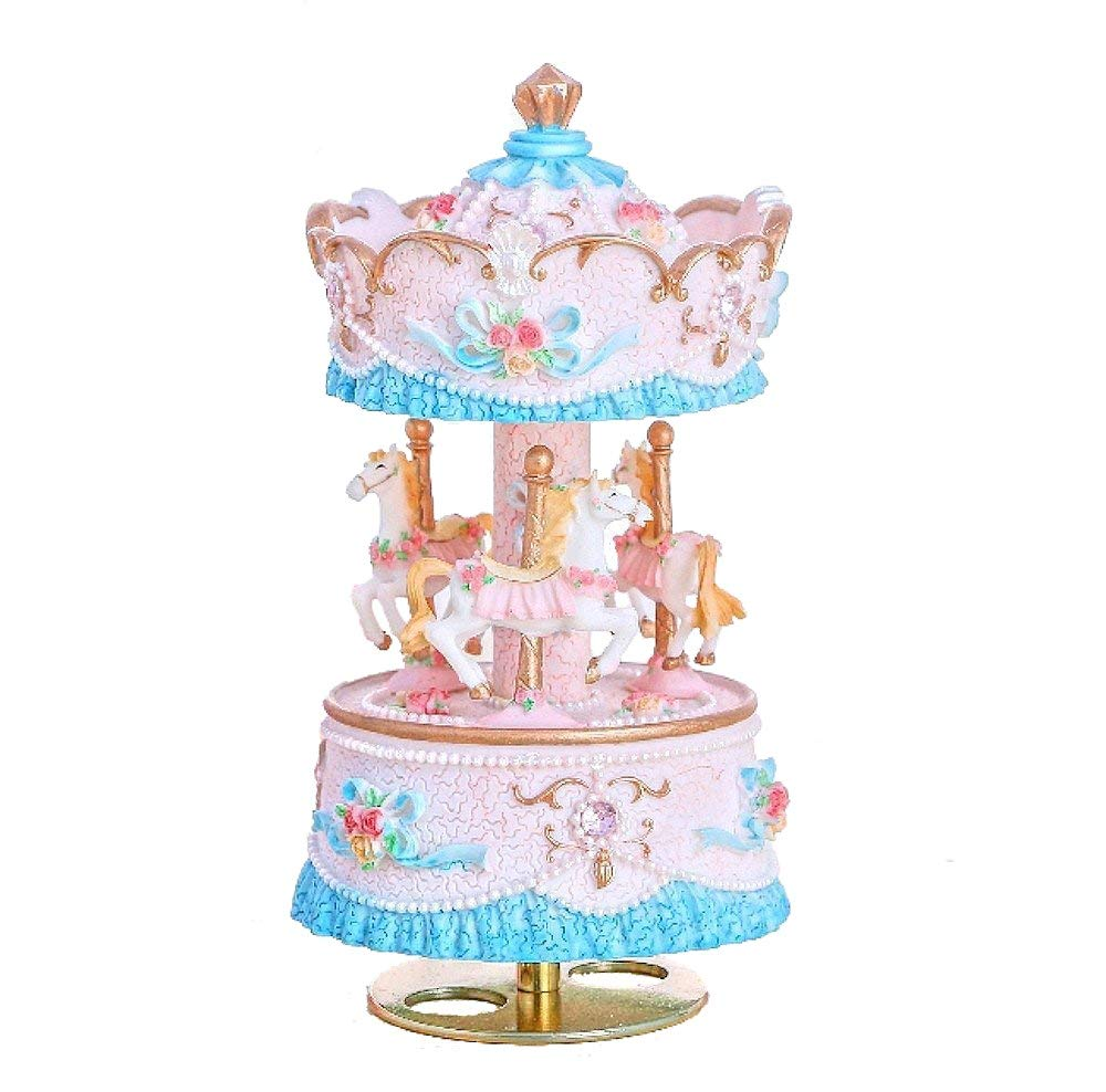JZK 3-horse carousel spinning music box with melody, greeting card + gift box & bag, merry-go-round musical box, birthday gift Christening present for baby, girl, boy, children, kids