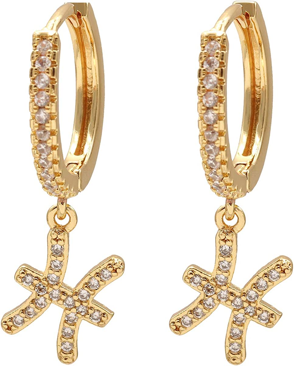 CHEDE 18K Gold Plated Cubic Zirconia Cuff 12 Zodiac Sign Earrings For Women Girls