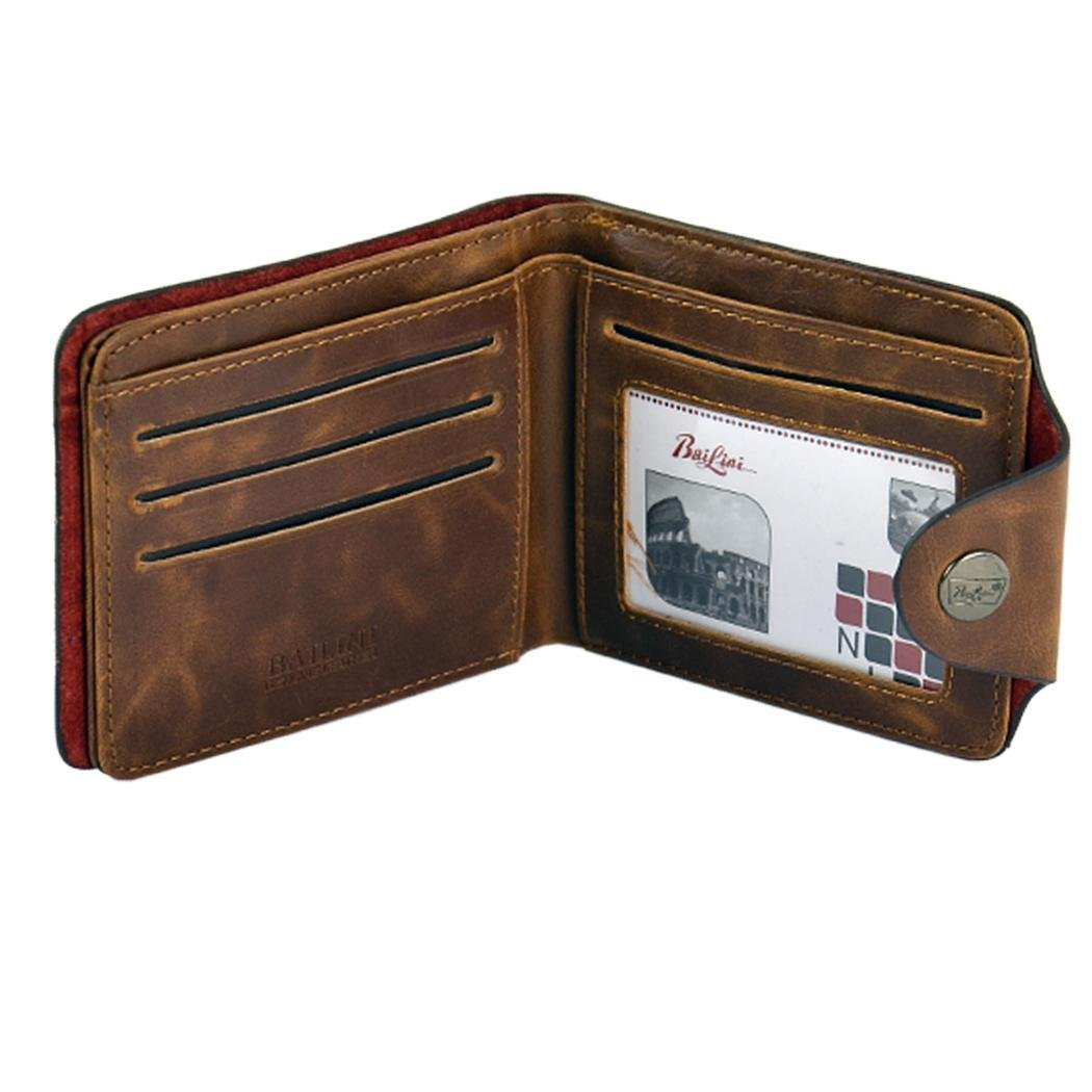 Flipout ID holder Frifold wallet For Men Slim ID wallet Coff Wallets Sholdnut Mens Artificial Leather Short Wallet Brown