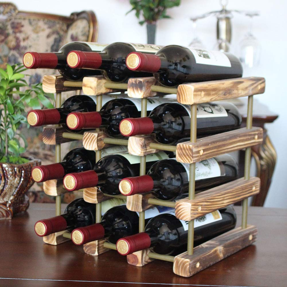 XiYunHan Solid Wood Wine Rack European Hotel Restaurant Cabinet Features Roasted Solid Home Storage Display Pine Multi-Bottle Detachable Living Room Bar Bracket Stand Desktop Independent Locker