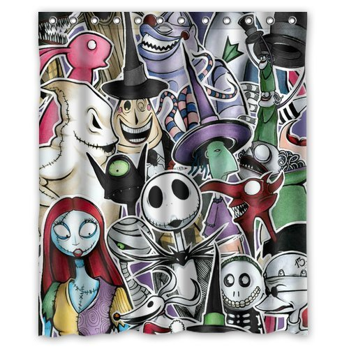 Mirryderr Custom Polyester Fabric The Nightmare Before Christmas Waterproof Shower Curtains Bathroom decor
