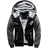 WALK-LEADER Mens Thick Fur Lined Zip Up Hooded Hoodies Sweatshirt Jacket Outwear