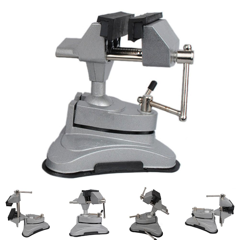 Hobby Mini Vice with 360° Swiveling Head and Powerful Suction Mounting Mechanism and Soft Jaws for Craft, Model Building(Silver) by cyclamen9 (Image #5)