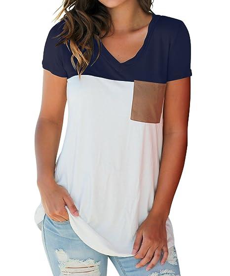 Verano Camisetas Mujer Sweatshirt Casual Color Splicing Blouses T-Shirt Blusa Pulóver Moda Cuello V