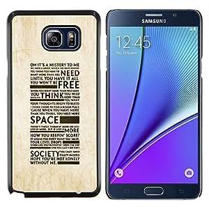 Caucho caso de Shell duro de la cubierta de accesorios de protección BY RAYDREAMMM - Samsung Galaxy Note 5 5th N9200 - Libertad de la Sociedad de la tipografía
