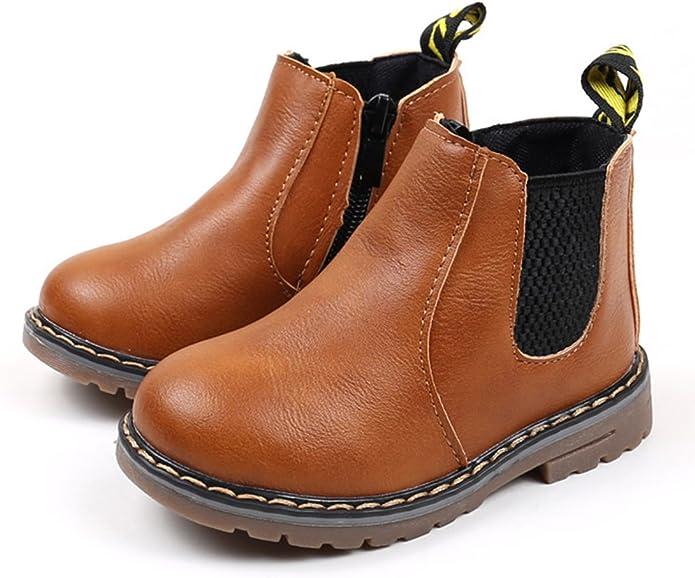EOZY Boots Fille Antidérapant Bottine en Velours Épais PU