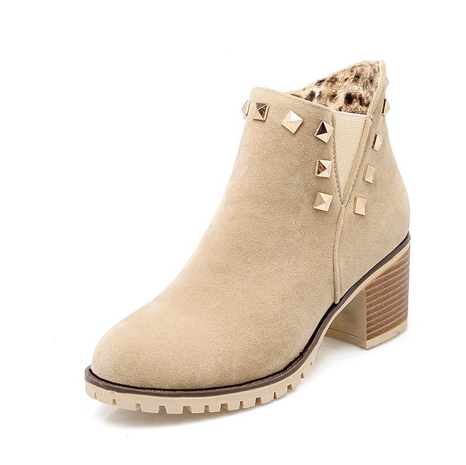 MayMeenth Women's Round Closed Toe Low-top Kitten-Heels Solid Imitated Suede Boots