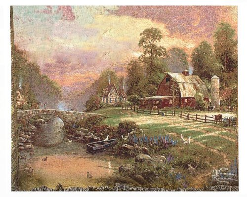 Thomas Kinkade - Tapestry Throw, Sunset at Riverbend Farm