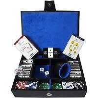 Kelvin Casino Royal 4C - 2 Barajas Poker - 1 Cubilete ch c/ 5 Dados - 60 Fichas Poker 11.5gr - En Curpiel y Paño 26 x 18.5 x 6.5 cm