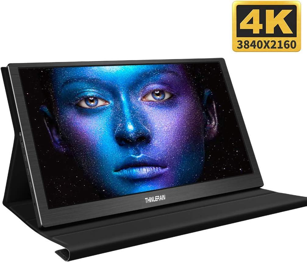 Monitor portátil 4K de 15,6 Pulgadas, USB C & HDMI & Mini DP, Monitor de Gaming 3840 x 2160, Ultrafino, Monitor portátil con Altavoz Dual Integrado para Xboxone PS4 Xbox360 Raspberry Pi