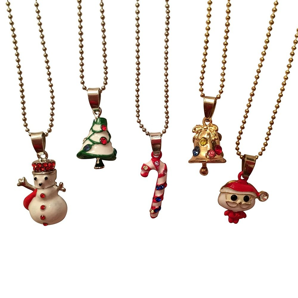 EverKid Christmas Pendants Set of 5 - Santa Claus, Christmas Tree, White Snowman, Candy Stick, and Christmas Bell Charms on 5 Metallic Chains - Best Xmas Gift for Kids Teens - Great Stocking Stuffer