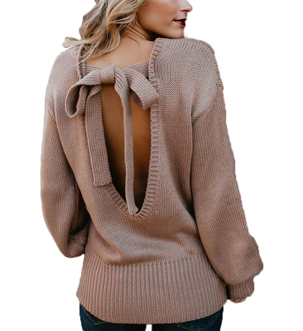 HZSONNE Women Sexy Backless Sweater Loose Long Sleeve Pullover Lace Knit Jumper