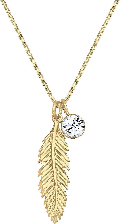 Elli Collares colgante boho de plumas para mujer, con cristal en plata de ley 925