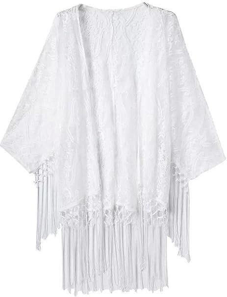 0027adea2d Women s Crochet Lace Fringe Open Front Bating Sleeve Tassels Top Cover Up