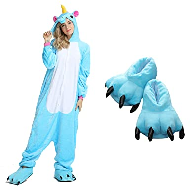 Unisex Unicorn Onesie Pajamas Animal Costume Sleepwear with Monster Slipper  Paws Shoes (Blue S) db797fe73