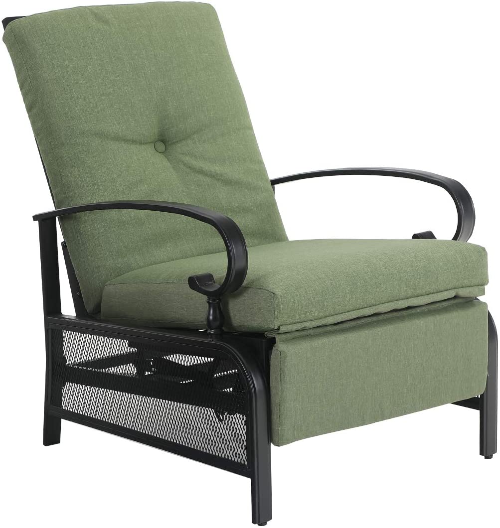 PHI VILLA Patio Adjustable Lounge Chairs Outdoor Metal Relaxing Recliner Sofa Chair with 5 Removable Cushions, Green