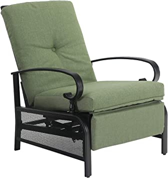 Amazon Com Phi Villa Patio Adjustable Lounge Chairs Outdoor Metal Relaxing Recliner Sofa Chair With 5 Removable Cushions Green Kitchen Dining