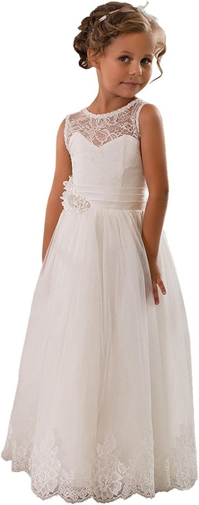 Kengtong Kengtong Weiß Mädchen Ärmellos Spitze Hochzeitskleid