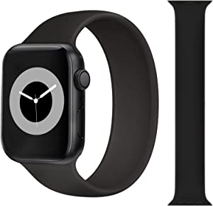 Solo Loop Strap Compatible with Apple Watch Band 38mm 40mm 42mm 44mm, Sport Elastics Silicone Apple Watch Bands Women Men, Replacement Wristband for iWatch Series 6 5 4 3 2 1 SE (Black 42M)