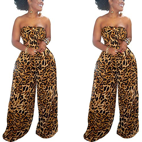 WOOSEN Women's Sleeveless Tie Front Knot Crop Tops Wide Leg Pants Set Polka Dot Leopard Print 2 Piece Outfits Brown
