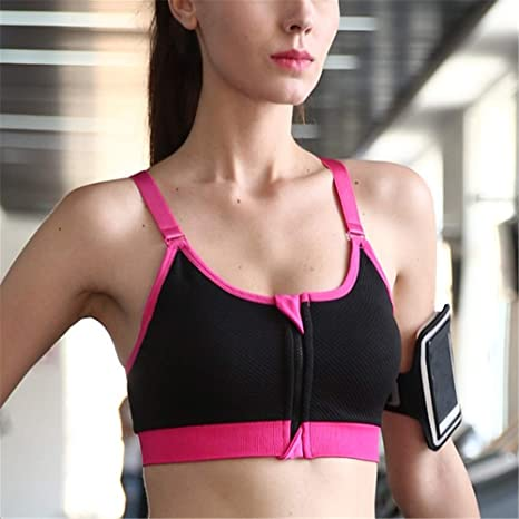 Yoga Sports Bra Fitness Gym Seamless Push Up Padded Wirefree Front Zipper Vest