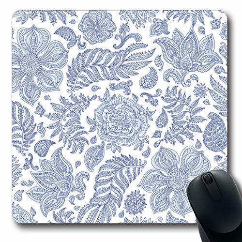 LifeCO Computer Mousepad Batik Blue Pattern Abstract Floral Exotic Colonial Navy Paisley Flower Wall Indigo Design Foliage Oblong Shape 7.9 x 9.5 Inches Oblong Gaming Non-Slip Rubber Mouse Pad Mat