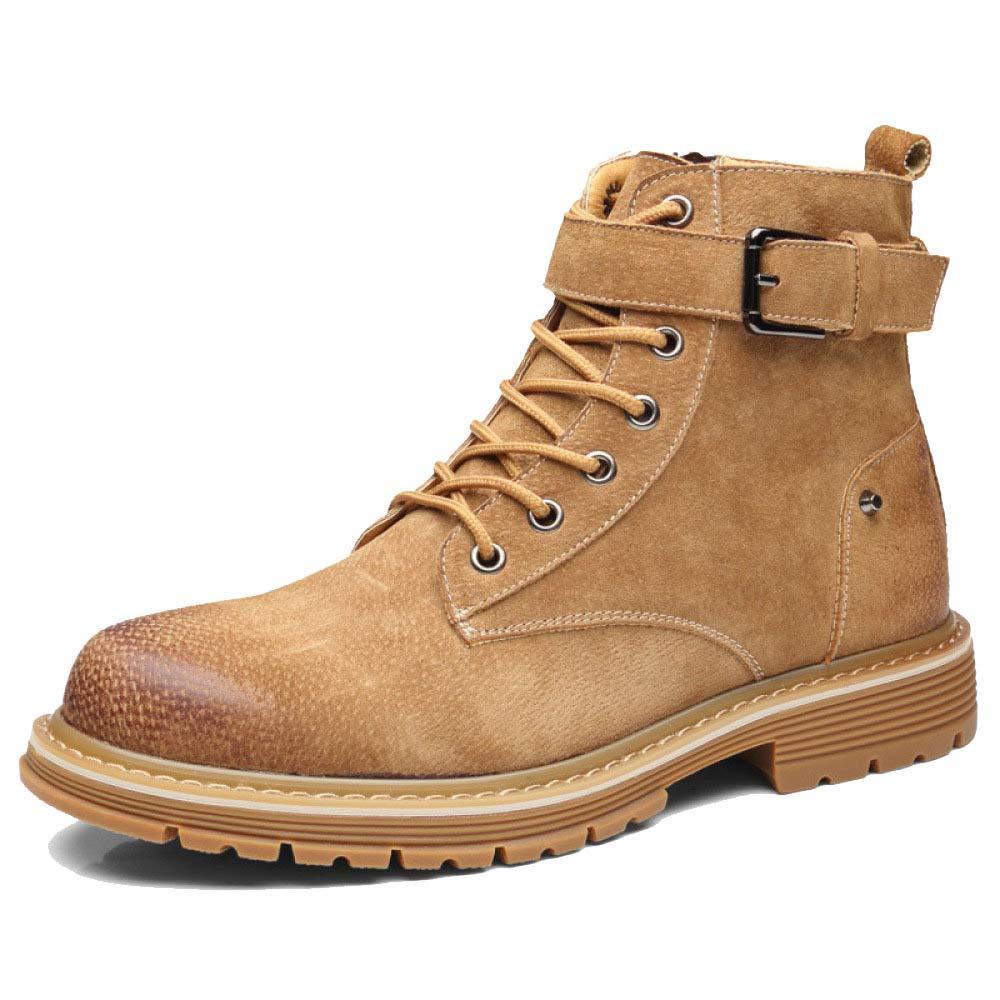 WANG-LONG Schuhe Herren Martin Stiefel Retro Leder Hoch Zu Helfen Wüste Werkzeugschuhe Herbst Und Winter Wild Trend,braun-38