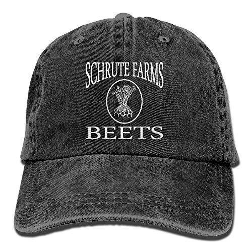 - NVJUI JUFOPL Baseball Cap Schrute Farms Beets Retro Washed Dyed Cotton Adjustable Denim Cap Low Profile Black