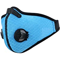 Activated Carbon Dustproof Dust Mask - with Extra Filter Cotton Sheet and Valves for Exhaust Gas, Anti Pollen Allergy, PM2.5, Running, Cycling, Outdoor Activities (Blue, Type 1)